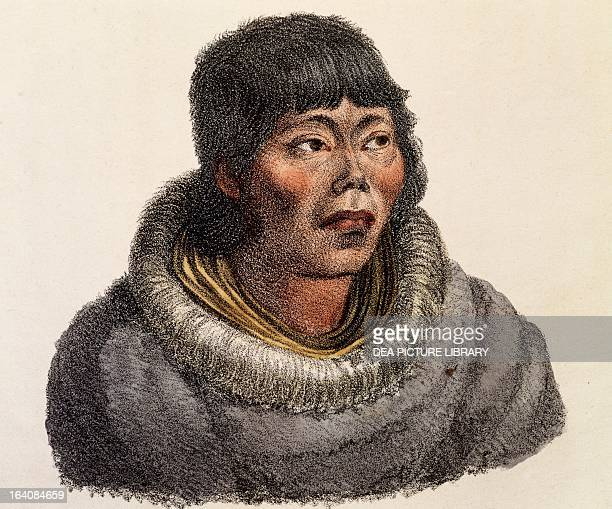 Kamchatka man engraving from Picturesque voyages around the world by Louis Choris from the expedition of 18151818 led by Otto von Kotzebue Russia...