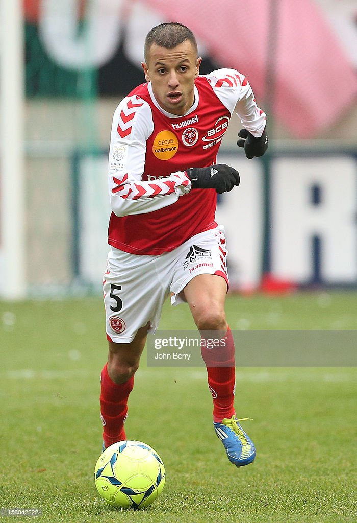 Kamel Ghilas of Reims in action during the French Ligue 1 match between Stade de Reims and Girondins de Bordeaux at the Stade Auguste Delaune on December 9, 2012 in Reims, France.
