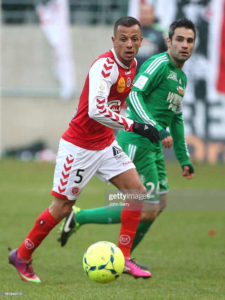 Kamel Ghilas of Reims in action during the french Ligue 1 match between Stade de Reims and AS Saint-Etienne at the Stade Auguste Delaune on February 17, 2013 in Reims, France.