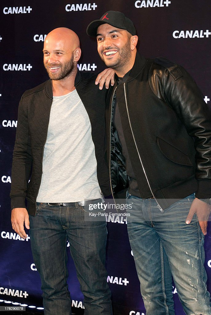 Kamel Le Magicien (r) at the 'Rentree De Canal +' photocall at Porte De Versailles on August 28, 2013 in Paris, France.