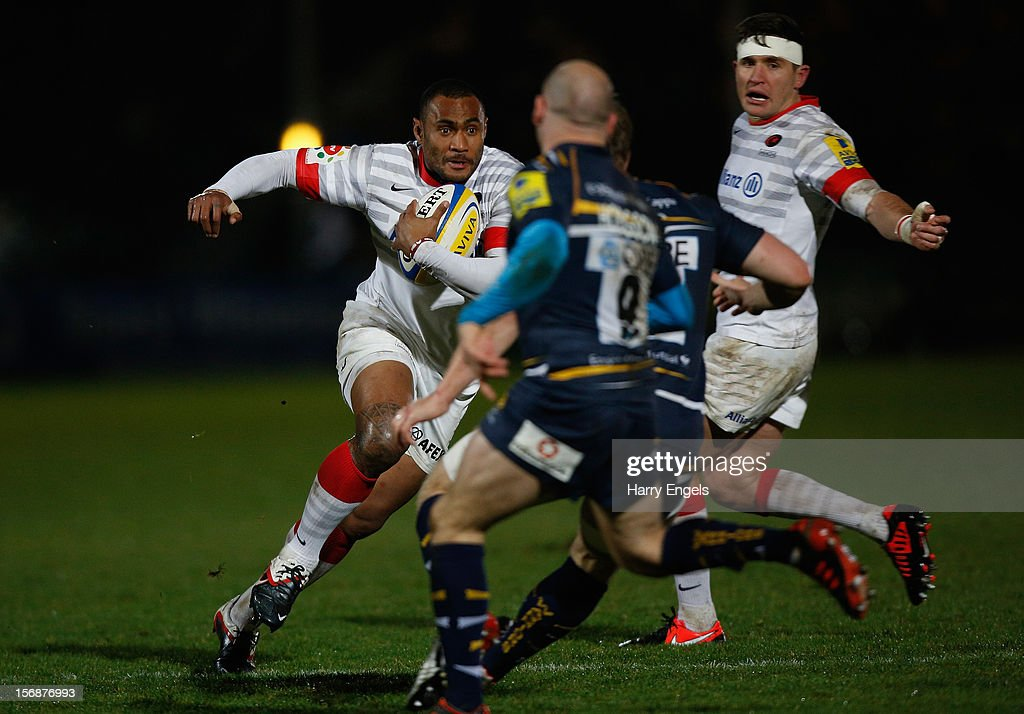 Kameli Ratuvou of Saracens runs at the Worcester defence during the Aviva Premiership match between Worcester Warriors and Saracens at Sixways Stadium on November 23, 2012 in Worcester, England.