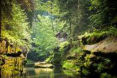 kamenice river, bohemian switzerland, czech republic  More: [url=http://www.istockphoto.com/search/lightbox/12314118/?refnum=subtik#8541c77] [img]http://subtik.de/images/is_lb/lb_czech_switzerland.jpg