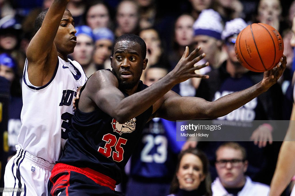 Kameron Woods #31 of the Butler Bulldogs guards Sam Dower #35 of the Gonzaga Bulldogs at Hinkle Fieldhouse on January 19, 2013 in Indianapolis, Indiana.