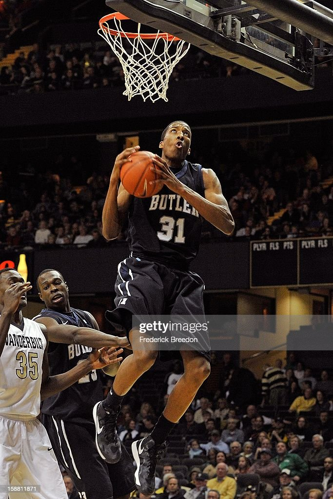 Kameron Woods #31 of the Butler Bulldogs plays against the Vanderbilt Commodores at Memorial Gym on December 29, 2012 in Nashville, Tennessee.
