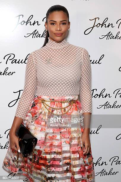 Kamie Crawford attends the John Paul Ataker fashion show during New York Fashion Week The Shows at The Dock Skylight at Moynihan Station on September...