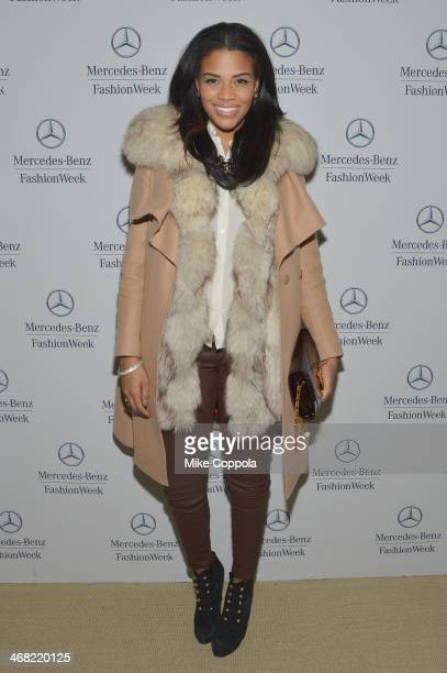 Kamie Crawford attends the MercedesBenz Star Lounge during MercedesBenz Fashion Week Fall 2014 at Lincoln Center on February 9 2014 in New York City