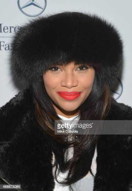 Kamie Crawford attends the MercedesBenz Star Lounge during MercedesBenz Fashion Week Fall 2014 at Lincoln Center on February 11 2014 in New York City