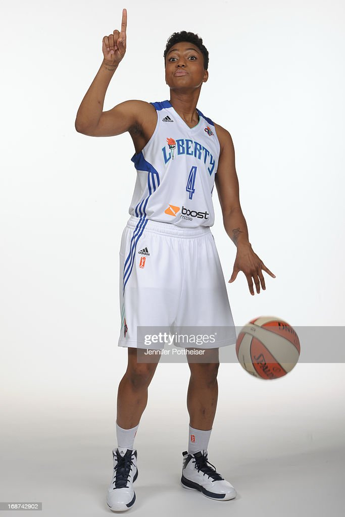 Kamiko Williams #4 of the New York Liberty poses for a photo during WNBA Media Day on May 13, 2013 at the Madison Square Garden Training Facility in Tarrytown, New York.