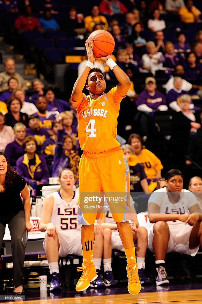 Kamiko Williams #4 of the Tennessee Volunteers takes an open shot against the LSU Tigers during a game at the Pete Maravich Assembly Center on February 7, 2013 in Baton Rouge, Louisiana. Tennessee won the game 64-62.