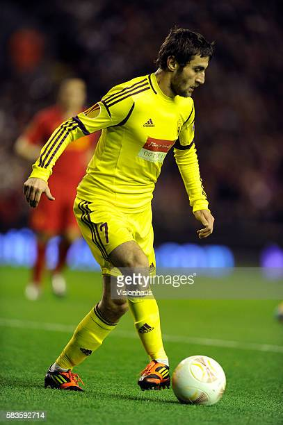 Kamil Agalarov of FC Anji Makhachkala in action during the UEFA Europa League Group A match between Liverpool and FC Anji Makhachkala at Anfield in...