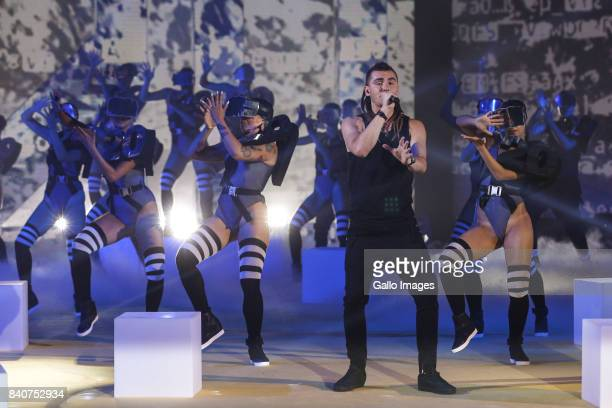 Kamil Bednarek and dancers participate in the 2017 TVN autumn broadcast schedule on August 02 2017 in Warsaw Poland The press conference announces...