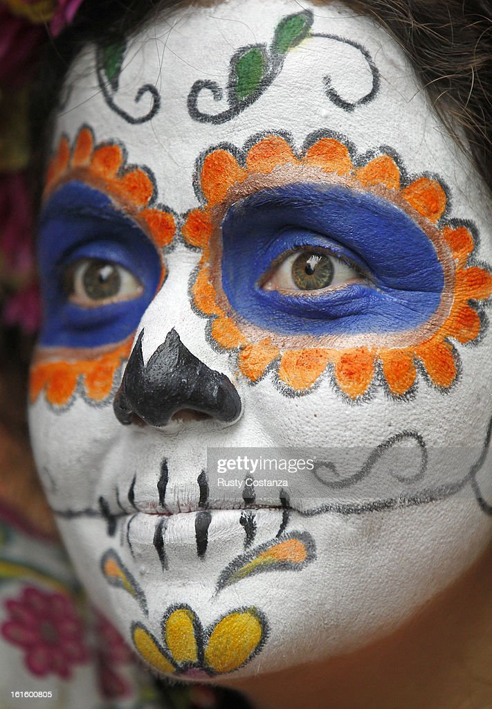 Kamil del Toro is dressed as a Day of the Dead sugar skull for Mardi Gras in the French Quarter. Fat Tuesday, the traditional celebration on the day before Ash Wednesday and the begining of Lent, is marked in New Orleans with parades and marches through many neighborhoods in the city.