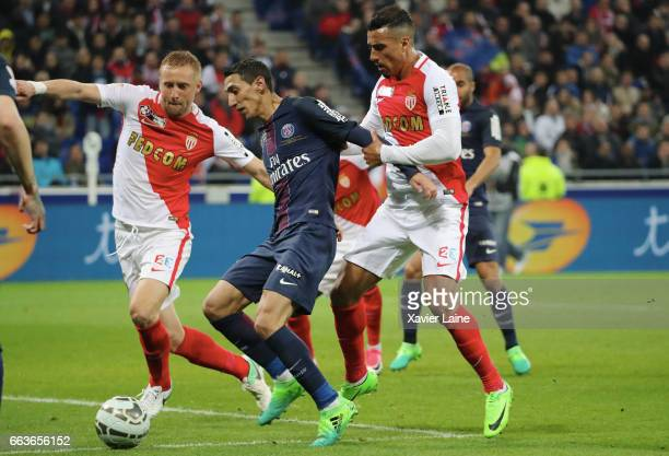 Kamil Glik and Nabil Dirar of AS Monaco in action with Angel Di Maria of Paris SaintGermain during the French League Cup Final match between Paris...
