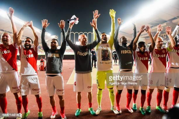 Kamil Glik Joao Moutinho Radamel Falcao Andrea Raggi Danijel Subasic Almany Toure Thomas Lemar and Valere Germain of Monaco salute their fans during...