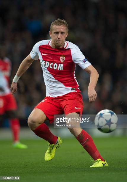 Kamil Glik of AS Monaco in action during the UEFA Champions League Round of 16 first leg match between Manchester City FC and AS Monaco at Etihad...