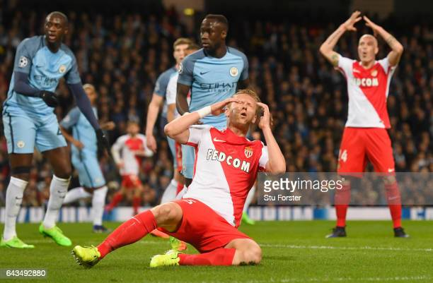 Kamil Glik of AS Monaco reacts after a missed chance during the UEFA Champions League Round of 16 first leg match between Manchester City FC and AS...