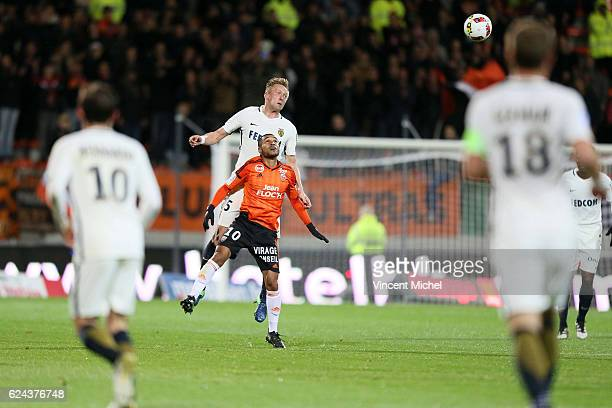 Kamil Glik of Monaco and Sylvain Marveaux of Lorient during the Ligue 1 match between Fc Lorient and As Monaco at Stade du Moustoir on November 18...