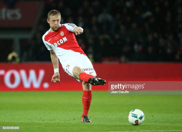 Kamil Glik of Monaco in action during the French Ligue 1 match between Paris Saint Germain and AS Monaco at Parc des Princes stadium on January 29...