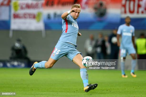 Kamil Glik of Monaco runs with the ball during the UEFA Champions League group G match between RB Leipzig and AS Monaco at Red Bull Arena on...