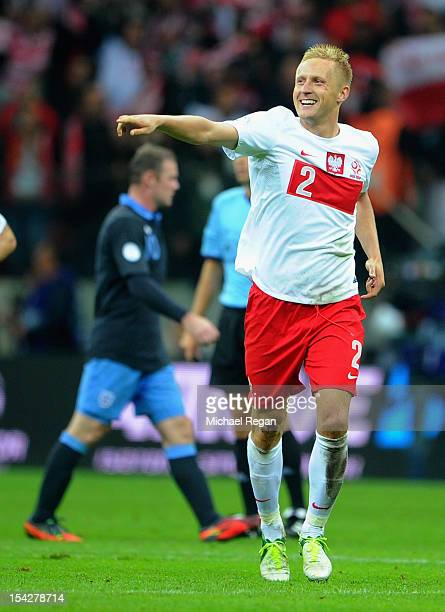 Kamil Glik of Poland celebratres scoring to make it 11 during the FIFA 2014 World Cup Qualifier between Poland and England at the National Stadium on...
