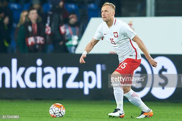 Kamil Glik of Poland controls the ball during the international friendly soccer match between Poland and Serbia at the Inea Stadium on March 23 2016...