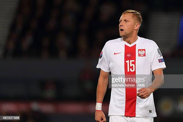 Kamil Glik of Poland during the UEFA EURO 2016 qualifier between Scotland and Poland at Hampden Park on October 8 2015 in Glasgow Scotland