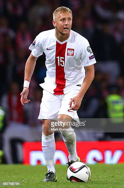 Kamil Glik of Poland in action during the EURO 2016 Qualifier between Scotland and Poland at Hamden Park on October 8 2015 in Glasgow Scotland