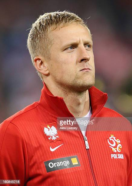 Kamil Glik of Poland lines up prior to the International Friendly match between Republic of Ireland and Poland at Aviva Stadium on February 6 2013 in...