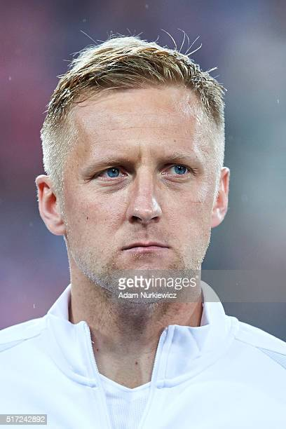 Kamil Glik of Poland looks while national anthem during the international friendly soccer match between Poland and Serbia at the Inea Stadium on...
