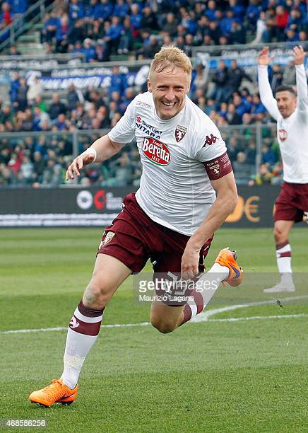 Kamil Glik of Torino celebrates his team's second goal during the Serie A match between Atalanta BC and Torino FC at Stadio Atleti Azzurri d'Italia...