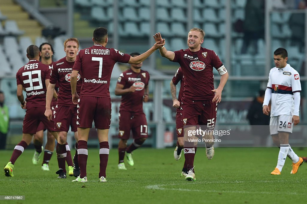 Kamil Glik of Torino FC celebrates after scoring a goal during the Serie A match betweeen Torino FC and Genoa CFC at Stadio Olimpico di Torino on...