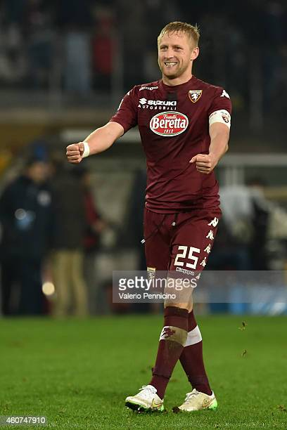 Kamil Glik of Torino FC celebrates victory at the end of the Serie A match betweeen Torino FC and Genoa CFC at Stadio Olimpico di Torino on December...