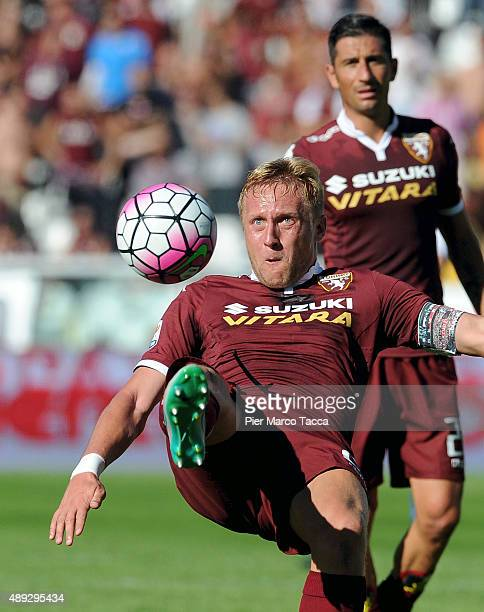 Kamil Glik of Torino FC in action during the Serie A match between Torino FC and UC Sampdoria at Stadio Olimpico di Torino on September 20 2015 in...