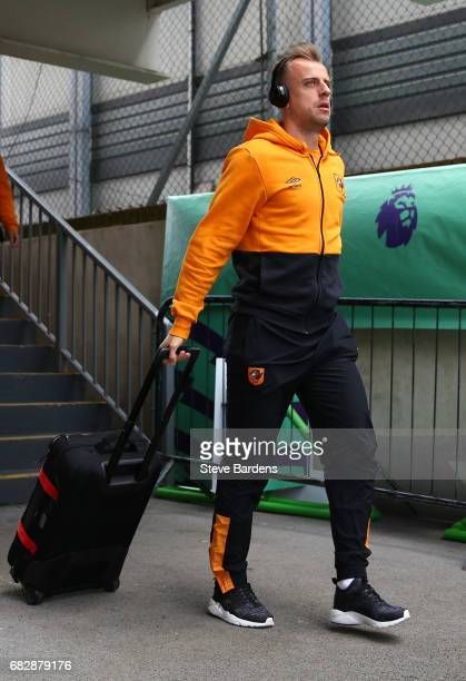 Kamil Grosicki of Hull City arrives at the stadium prior to the Premier League match between Crystal Palace and Hull City at Selhurst Park on May 14...