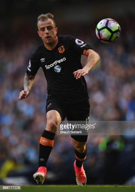 Kamil Grosicki of Hull City in action during the Premier League match between Manchester City and Hull City at Etihad Stadium on April 8 2017 in...
