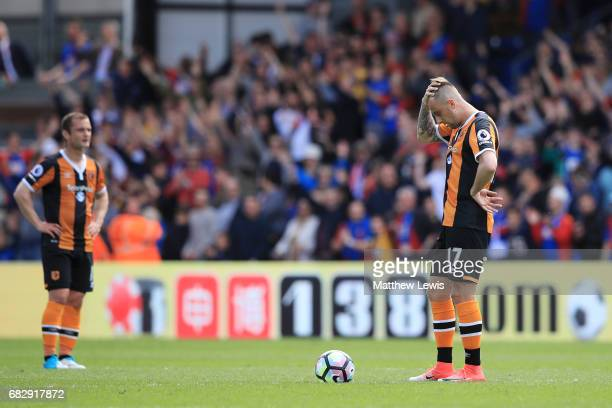Kamil Grosicki of Hull City looks dejected after Crystal Palace third goal during the Premier League match between Crystal Palace and Hull City at...