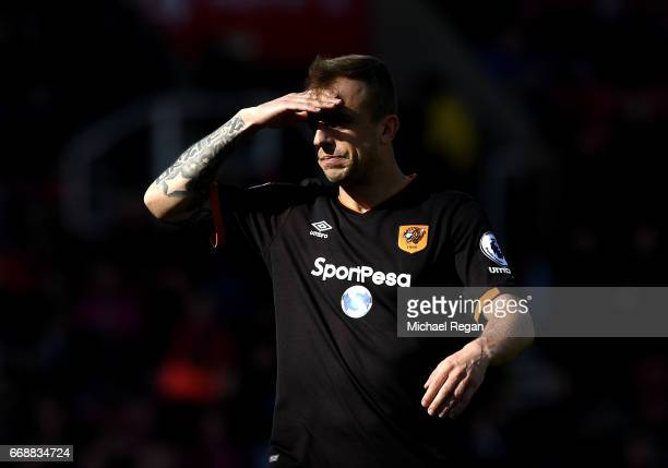 Kamil Grosicki of Hull City looks on during the Premier League match between Stoke City and Hull City at Bet365 Stadium on April 15 2017 in Stoke on...