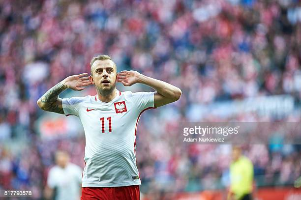 Kamil Grosicki of Poland celebrates after scoring during the international friendly soccer match between Poland and Finland at the Municipal Stadium...