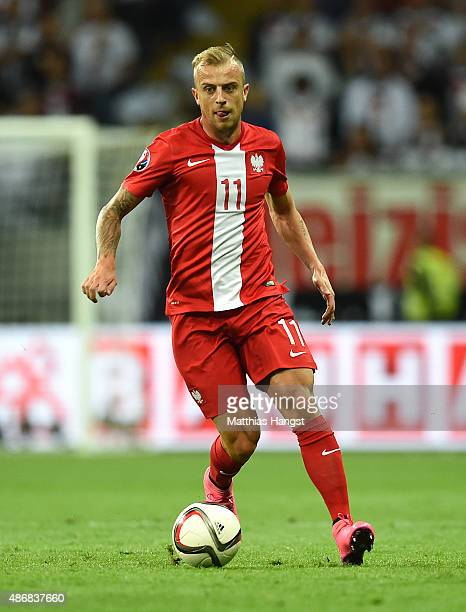 Kamil Grosicki of Poland controls the ball during the EURO 2016 Qualifier Group D match between Germany and Poland at CommerzbankArena on September 4...