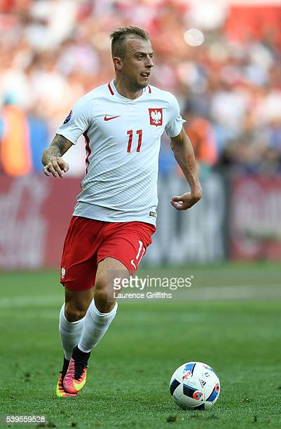 Kamil Grosicki of Poland in action during the UEFA EURO 2016 Group C match between Poland and Northern Ireland at Allianz Riviera Stadium on June 12...