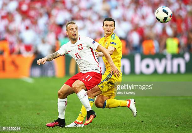 Kamil Grosicki of Poland in action during the UEFA EURO 2016 Group C match between Ukraine and Poland at Stade Velodrome on June 21 2016 in Marseille...