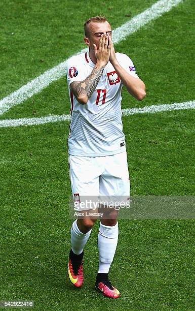 Kamil Grosicki of Poland reacts after missing a chance during the UEFA EURO 2016 round of 16 match between Switzerland and Poland at Stade...