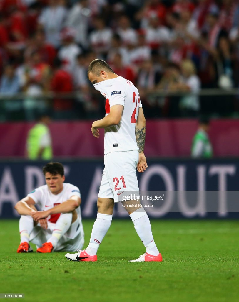 Kamil Grosicki of Poland shows his dejection at the final whistle during the UEFA EURO 2012 group A match between Czech Republic and Poland at The Municipal Stadium on June 16, 2012 in Wroclaw, Poland.