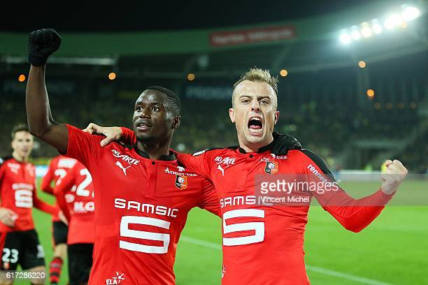 Kamil Grosicki of Rennes celebrates with Paul Georges Ntep after scoring the second goal during the Ligue 1 match between FC Nantes and Stade Rennais...