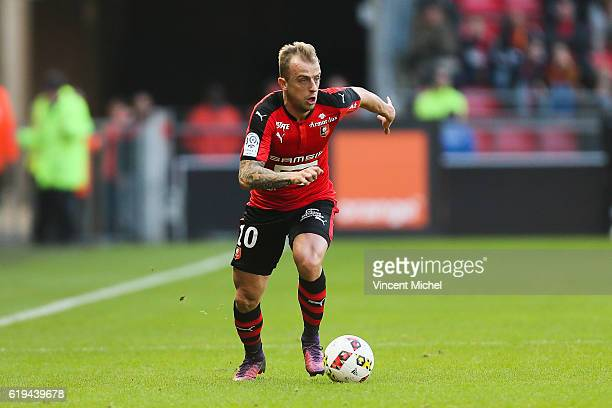 Kamil Grosicki of Rennes during the French Ligue 1 match between Rennes and Metz at Stade de la Route de Lorient on October 30 2016 in Rennes France