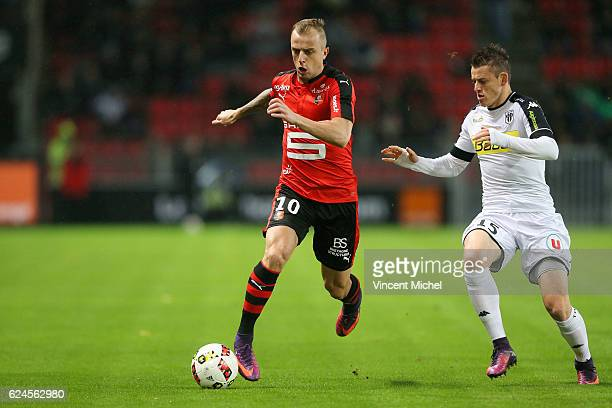 Kamil Grosicki of Rennes during the Ligue 1 match between Stade Rennais and Sco Angers at Stade de la Route de Lorient on November 19 2016 in Rennes...