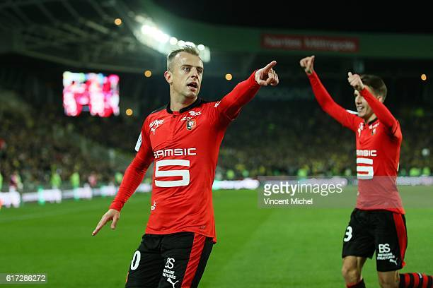 Kamil Grosicki of Rennes jubilates after scoring the first goal during the Ligue 1 match between FC Nantes and Stade Rennais at Stade de la Beaujoire...