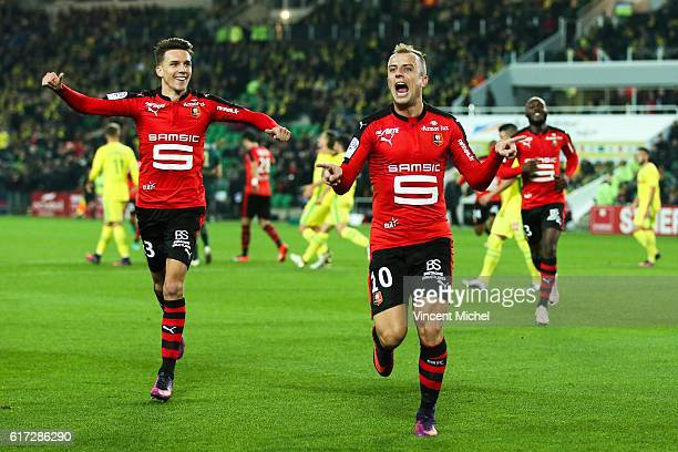 Kamil Grosicki of Rennes jubilates after scoring the second goal during the Ligue 1 match between FC Nantes and Stade Rennais at Stade de la...