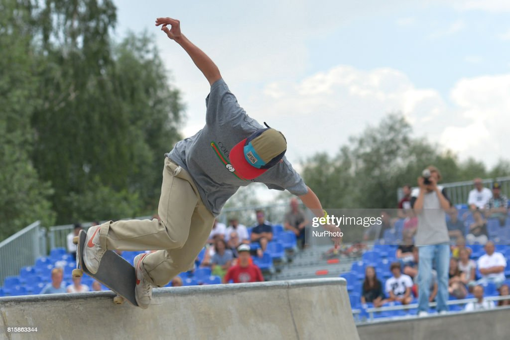Kamil Karwowski during the final of Skateboarding competition of Carpatia Extreme Festival 2017, in Rzeszow. On Sunday, July 16, 2017, in Rzeszow, Poland.