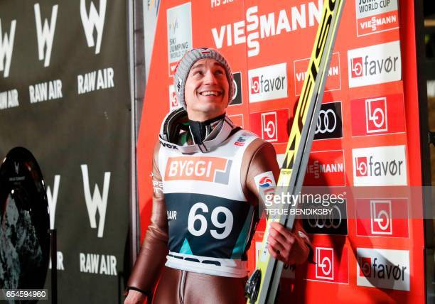 Kamil Stoch from Poland placed first in the FIS Ski Jumping World Cup Men`s HS225 qualification in Vikersund on March 17ski j 2017 / AFP PHOTO / NTB...